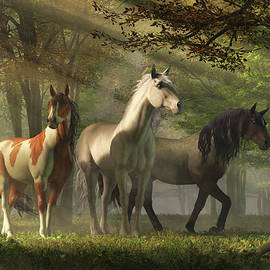 Three Wild Horses in the Forest by Daniel Eskridge