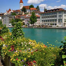 Thun city. River and Church. Switzerland. by Guido Montanes Castillo
