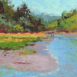 Chasing The Tide - landscape painting by Talya Johnson
