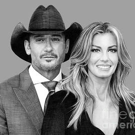 Tim McGraw and Faith Hill drawing by Murphy Art Elliott