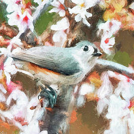 Titmouse In The Blossoms by Tina LeCour
