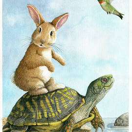 Togetherness- Wildlife Watercolor  by Linda Apple