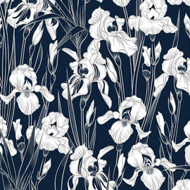 Toile Twilight Iris - Navy, Silvery Gray, White by L Diane Johnson