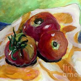 Tomatoes on Yellow Cloth by Kiersten Marek