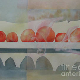 Tomatoes, Window Sill, Shadows and Reflections by Elizabeth Allen