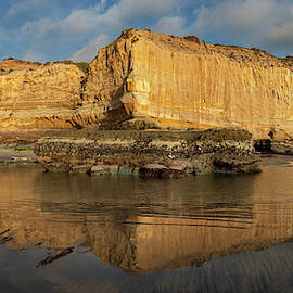 Torrey Pines Cliffs Low Tide Reflection by William Dunigan