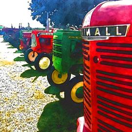 Tractor -cars all in a row