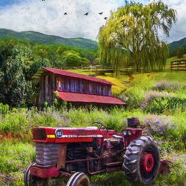 Tractor in the Farmer's Field Painting by Debra and Dave Vanderlaan