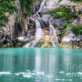 Tracy Arm Icefield And Waterfall by Michele Hancock