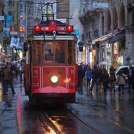 Tram Scene In The City Center  L A S by Gert J Rheeders