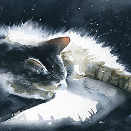 Tranquility - Sleeping Cat Painting by Dora Hathazi Mendes