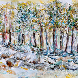 Tree line in blue - watercolor painting by Patty Donoghue