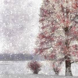 Tree Near Lake Few Red Leaves and Snow by Mira Minerva