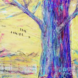 Tree Trunk on Yellow Sky by Patty Donoghue