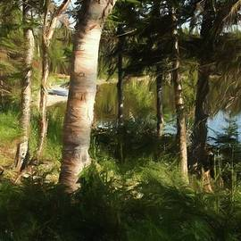 Trees by the lake - Digital Painting by Tatiana Travelways