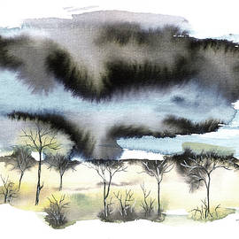 Trees in heavy storm by Aniko Hencz