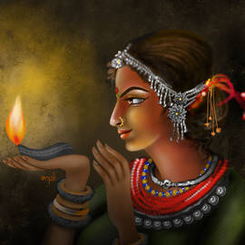 Tribal beauty with lamp by Anjali Swami