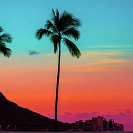 Tropical Paradie Art Sunrise in Waikiki Hawaii by Mikela Bond