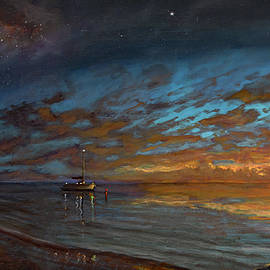 Tropical Sunset Painting by Ken Figurski