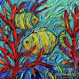 TROPICAL YELLOW FISHES UNDERWATER palette knife oil painting Mona Edulesco by Mona Edulesco