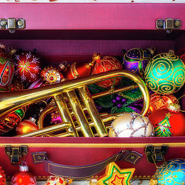 Trumpet In Suitcase With Ornaments by Garry Gay