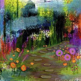 Trusting My Instincts 2, Abstract Landscape Flowers Painting by Itaya Lightbourne