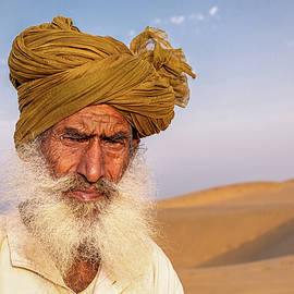Desert man, That desert, Rajasthan, India by Kim Petersen