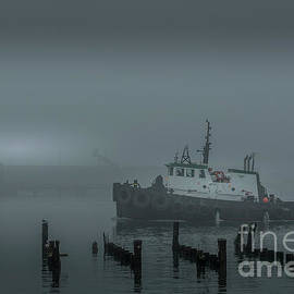 Tugboat Foggy Morning by Mitch Shindelbower