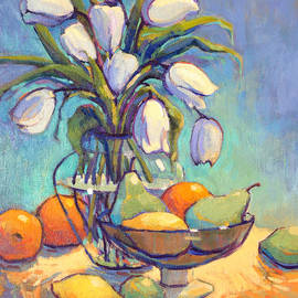 White Tulips and Fruits by Konnie Kim