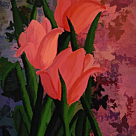 Tulips and Butterflies.  by Trudee Hunter