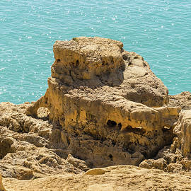 Turquoise Diamonds and Gold - Sea Sculpted Clifftop on Algarve Gold Coast in Portugal by Georgia Mizuleva