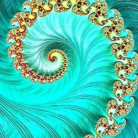 Turquoise Jade Spiral Fractal by Mo Barton
