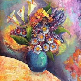 Turquoise vase with bouquet of flowers by Teresa Espinosa