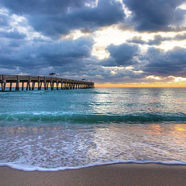 Turquoise Waters at the Pier by Debra and Dave Vanderlaan