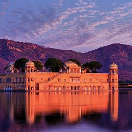 Water Palace Jal Mahal at sunset, Jaipur, Rajasthan, India by Kim Petersen