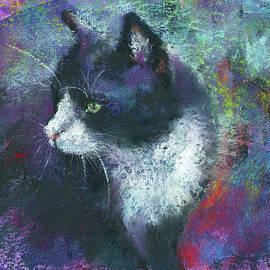 Tuxedo cat portrait painting by Karen Kaspar