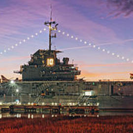Twilight Panorama of USS Yorktown at Patriot's Point - Mount Pleasant Charleston - South Carolina by Silvio Ligutti