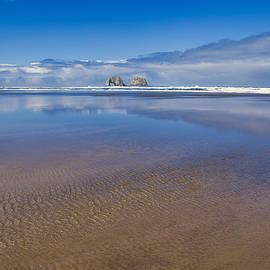 Twin Rocks glassy sea by Lynn Hopwood