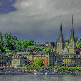 Twin Spires of Lucerne, Painterly by Marcy Wielfaert