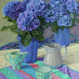Two Are Better Than One- Blue Hydrangeas in Blue Pots with Teacups and Striped Cloth by Bonnie Mason