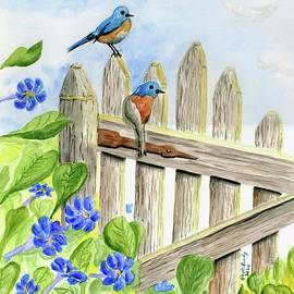Two Bluebirds on a Fence by Linda Brody