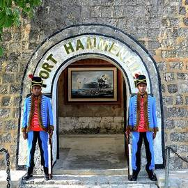 Two ceremonial soldier sentry stand guard at entrance to Fort Hammenhiel hotel Jaffna Sri Lanka by Imran Ahmed