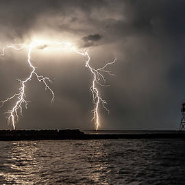 Two Lightning Strikes Joined As One by Kathryn by Photography By Phos3 Kathryn Parent and Dave Paddick