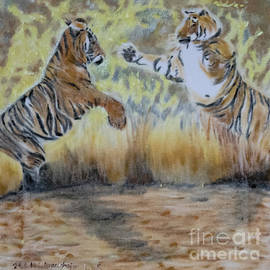 Two tigers fighting by Claudia Luethi alias Abdelghafar