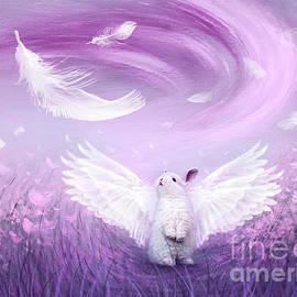 Under His Wings - Purple Gray  by Yoonhee Ko