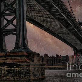 Under the Brooklyn Bridge Galaxy Skies  by Chuck Kuhn