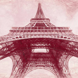 Under The Eiffel Tower, Paris, Red Sketch by Liesl Walsh