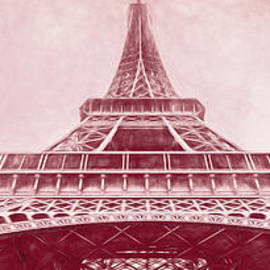 Under The Eiffel Tower, Paris, Red Sketch, Pano by Liesl Walsh