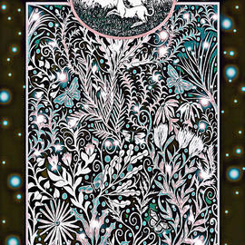 Unicorn Garden Tapestry design in black, pink and light green by Lise Winne