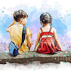 Unique style art of Kids Sitting back view by Vector Convert